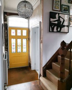 Morning from the in-laws! Hope all is well I'm meeting with client to go scouting for an upcoming project. Here's a shot of the inside of our fabulous front door. The joiner wanted us to paint both inside and out the same colour and I thought it would be a great opportunity for a bit of colour pop inside! So say hello to yellow!  Sad story say that we still need to plaster around the door as the frame was set behind plaster but hopefully will get round to this next week .. eventually Yellow Front Doors, Painted Front Doors, Colour Pop, Color, All Is Well, Scouting, Plaster, Landing, Opportunity