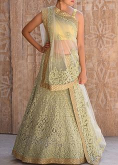 Pista Green Thread Work Lehenga