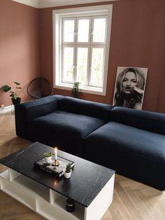 Blue Wool Sofa - LENE ORVIK Modern Home Interior Design, Dream Home Design, Diy Kitchen Decor, Home Decor, Bedroom Colors, Sofa Design, Living Room Decor, Decoration, Blue Wool
