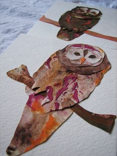 What be fun to do with cut watercolor paintings: Marbled Paper Owl Collages-Maddy would enjoy making these to decorate her room. Maybe Eric Carle style paint the whole paper and then cut out shapes later. Owl Art, Bird Art, Paper Owls, Paper Art, Classe D'art, Doodle Drawing, 4th Grade Art, Autumn Art, Autumn Trees