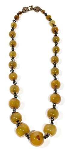 Signed Stephen Dweck Amber & Bronze Degraded Beaded Necklace #StephenDweck