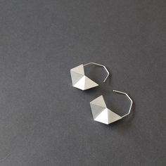Geometric Silver Earrings Geometric Black Earrings by RawObjekt