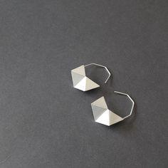 Geometric Silver Earrings Geometric Black Earrings by RawObjekt, $49.00