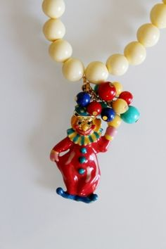 Vintage clown necklace by Sodini, so funny so sweety costume jewelry