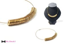 Brass washer necklace with gold collar.