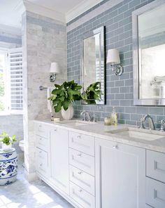 Classical Beach House: Blue and Marble Bathroom