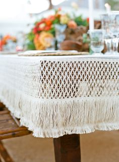 When designing this playful tabletop, Lisa Vorce and Mindy Rice opted for a macramé tablecloth, complete with plenty of fringe (another trend to bookmark! Chic Wedding, Wedding Trends, Spring Wedding, Wedding Details, Wedding Ideas, Wedding Tables, Wedding Receptions, Eclectic Wedding, Summer Weddings