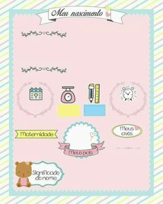 Quadro meu nascimento para preencher Baby E, Baby Birth, Baby Frame, Baby Scrapbook, Baby Prints, Baby Design, Happy Anniversary, Art For Kids, New Baby Products