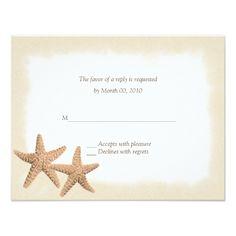 Destination Wedding RSVP Starfish Beach Theme Wedding RSVP Cards