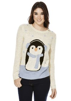 <li>This ice cool novelty jumper at F&F is a choice piece for winter. Featuring confetti yarn and a classic fisherman knit with bobble appliqué, the jumper has a cute penguin wearing earmuffs at the centre front. The jumper is styled with a round neck and  long sleeves.</li><li>Round neck</li><li>Sits on the hip</li>