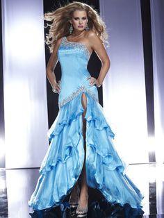 Trumpet/Mermaid One Shoulder Tulle Satin Asymmetrical Sleeveless Rhinestone Prom Dresses at Msdressy