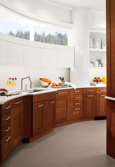 Cool kitchen, must have been difficult building on a curved surface.