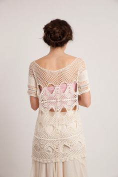 Hand knitted offwhite blouse Cotton tunic dress Open by NaliniShop, $115.00