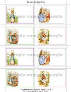 Peter Rabbit Printable Place Card Template Flat or Tented Sample Flat