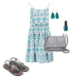 """""""Teal beauty"""" by plaka-sandals on Polyvore featuring Boohoo, FOSSIL, Kim Rogers and OPI"""