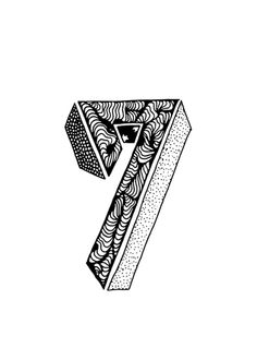 sofialimasousa illustration number seven 7 Typography Letters, Typography Poster, Typography Design, Lettering, 21st Birthday Gifts For Boyfriend, Number Tattoos, 7 Logo, Se7en, Type Illustration