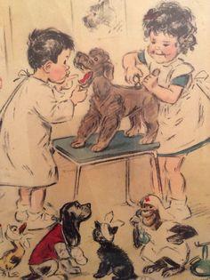 ...☆... . --------------------------------- Chez le vétérinaire Dessin de Germaine Bouret