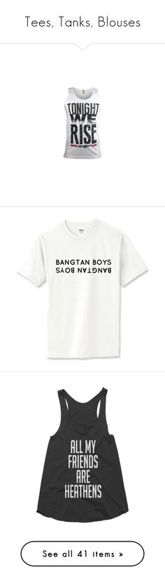 """""""Tees, Tanks, Blouses"""" by btskpopoutfits ❤ liked on Polyvore featuring skillet, shirts, tank tops, band, music, bts, kpop, tops, blusas and racerback shirt"""