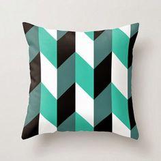 coussin-graphique-noir-blanc-turquoise