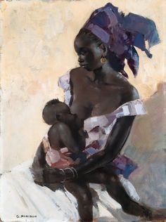 """Nursing breaks with toddlers can be the only time they are still all day. """"Mother and Child"""" by Gaston Parison – French). [Image: Painting of a mother nursing a toddler. Text: Breastfeeding is timeless. American Art, Classic Art, Art Painting, Breastfeeding Art, Painting, Female Art, Art, African Art, Beautiful Art"""
