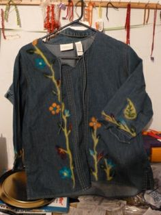 Fun Recycled Denim Top with Needle felted details