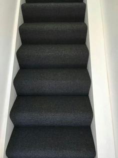 Best Dark Grey Carpet On Stairs Looks Good With White Treads 400 x 300