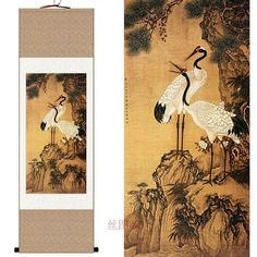 traditional Chinese watercolor painting ... cranes ... color inspiration ....