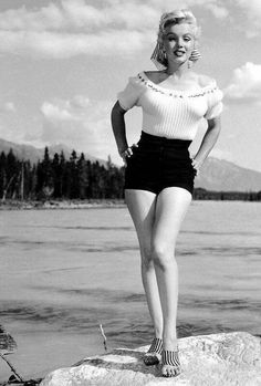 Marilyn Monroe photographed during the filming of River of No Return, 1953