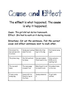 cause and effect centers and no prep activities paragraph this includes definition of cause and effect example 8 cause and