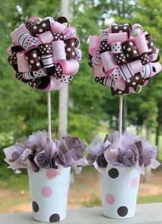 Baby Shower Ribbon Topiary in Pink and Brown..Perfect...just add a little hot pink and giraffe print ribbon in