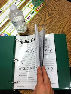 Handwriting Practice pages laminated and use a wet erase marker! Do they even do handwriting anymore bc so many kids need it!
