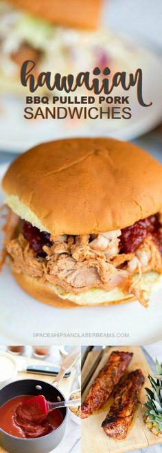 Hawaiian BBQ Pulled Pork Sandwiches via @spaceshipslb