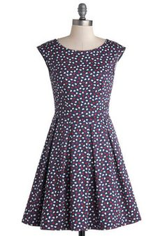 Number One Fanfare Dress. When it comes to enthusiasm, it's 'heart for you to ignore this vintage-inspired party dress, which is produced in the UK by Closet! #blue #modcloth