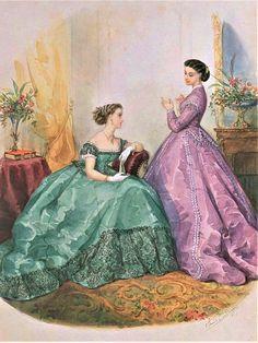 Vintage Gowns, Vintage Ladies, Civil War Fashion, 18th Century Fashion, Vintage Wardrobe, Fashion Plates, Fashion History, Fashion Prints, Fashion Portraits