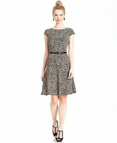 Anne Klein Petite Dress, Cap-Sleeve Graphic-Print Belted A-Line
