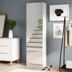 Mirror Shoe Storage Cabinet Hashtag Home Size: H x W x L, Finish: Light Grey - Grey/White - Size: Large Shoe Storage Mirror, Shoe Storage Cabinet, Bedroom Storage, Storage Cart, Storage Cabinets, Storage Ideas, Full Length Mirror On Door, Full Length Mirror With Storage, Large Shoe Rack