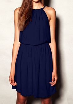 Navy Pleated Flowy Dress @LookBookStore