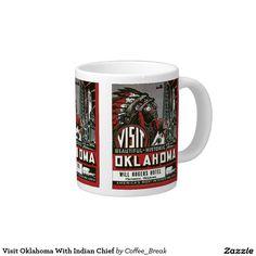Visit Oklahoma With Indian Chief 20 Oz Large Ceramic Coffee Mug