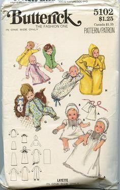 1970s Butterick 5102 Vintage Infants Layette Pattern One Size. $10.00, via Etsy.