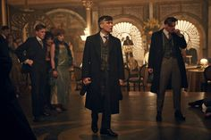 The party mood is shattered by Cillian Murphy's Thomas Shelby and his gang, in a scene from Peaky Blinders series 2