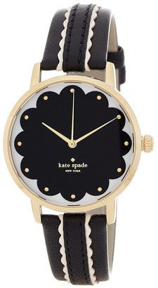 Kate Spade New York Women's Scalloped Metro Leather Strap Watch #watches #womens