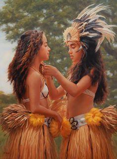 Polynesian Dance, Polynesian Culture, Hawaiian Dancers, Hawaiian Art, Kim Taylor Reece, Hawaii Painting, Tahitian Costumes, Hula Dancers, Hula Girl