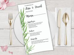 Your place to buy and sell all things handmade Printable Menu, Printables, Botanical Wedding Stationery, Wedding Menu, Wedding Ideas, Digital Printer, Wedding Envelopes, Envelope Liners, Menu Template