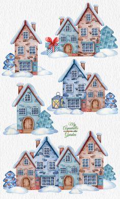 Winter Clip Art Free, Free Christmas Clip Art, Christmas Card Crafts, Christmas Drawing, Christmas Clipart, Christmas Art, House Illustration, Christmas Illustration, Watercolor Illustration