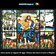Vetrata artistica Gesù con i ragazzi. Chiesa Sacro Cuore - Maglie LE