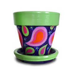"""It's a 8-inch hand painted flower pot I call """"Alex's Paisley"""" Whimsie Pot. It brings a little pizazz to the traditional paisley! It's so fun looking and has many uses! MEMBER - Michele Cordaro Design"""