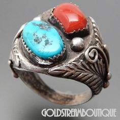 Native American Vintage Old Pawn Marked Navajo Sterling Silver Coral & – Gold Stream Boutique