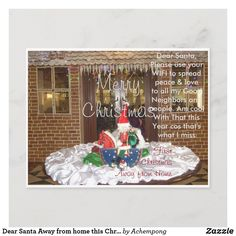 Dear Santa Away from home this Christmas New year Holiday Postcard
