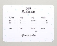 Baby Prediction Cards  x10  Polka Dots  Baby by BlossomStudioUK