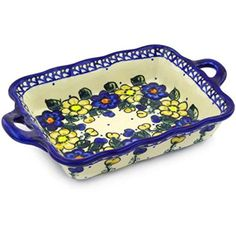 Ceramika Bona H2017G Polish Pottery Ceramic Rectangular Baker with Handles Hand Painted 12Inch >>> Want to know more, visit